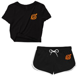 Kit Conjunto Feminino Short + Camiseta Cropped Anime Naruto
