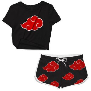 Kit Conjuto Feminino Short + Camiseta Cropped Anime Naruto Akatsuki