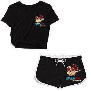 Kit Conjunto Feminino Short + Camiseta Cropped Anime Dragon Ball Nuvem