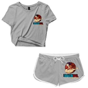 Kit Conjunto Feminino Short + Camiseta Cropped Anime Dragon Ball Nuvem