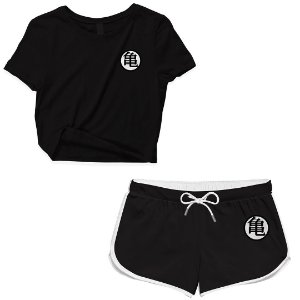 Kit Conjunto Feminino Short + Camiseta Cropped Anime Dragon Ball Simbolo