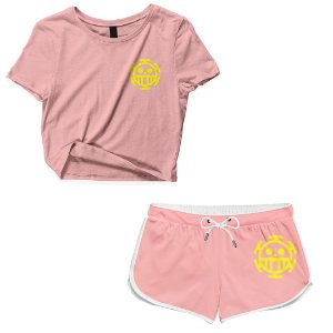 Kit Conjunto Feminino Short + Camiseta Cropped Anime One Piece Simbolo