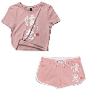 Kit Conjunto Feminino Short + Camiseta Cropped Anime Nanatsu No Taizai