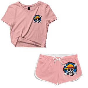 Kit Conjunto Feminino Short + Camiseta Cropped Anime One Piece Skull