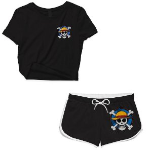 Kit Conjunto Feminino Short + Camiseta Cropped Anime One Piece Skull