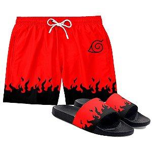 Kit Short Praia E Chinelo Anime Naruto Red Flames