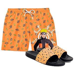 Kit Short Praia E Chinelo Anime Naruto Aldeia Da Folha