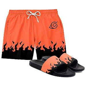 Kit Short Praia E Chinelo Anime Naruto Orange Flames