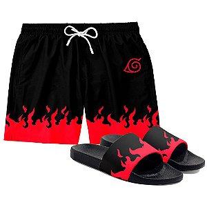 Kit Short Praia E Chinelo Anime Naruto Itachi