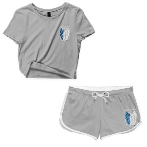 Kit Conjunto Feminino Short + Camiseta Cropped Anime Attack On Titan Logo