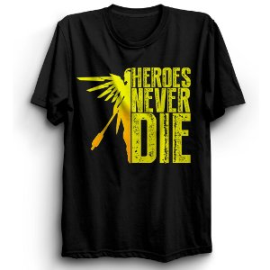 Camiseta Básica Jogo Overwatch Mercy Heroes Never Die