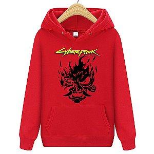 Blusa Moletom Canguru Jogo Cyberpunk 2077 Logo Samurai