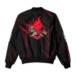 Jaqueta Bomber Com Bolsos Jogo Cyberpunk 2077 Samurai Red