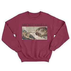 Moletom Gola Redonda Michelangelo A Criação de Adão