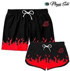 Kit Short Casal Praia Anime Naruto Flames Red