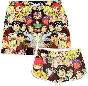 Kit Short Casal Praia Anime Naruto Personagens