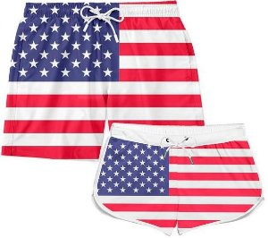 Kit Short Casal Praia Casal Bandeira Usa