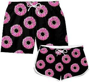 Kit Short Casal Praia Verão Donuts Rosquinha
