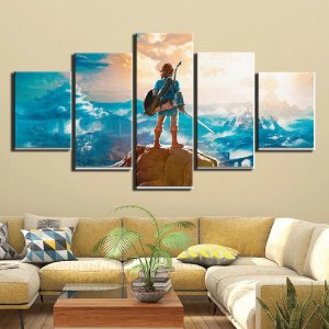 Quadro 5 Telas Decorativo  Jogo The Legend Of Zelda Breath of the Wild (110x55 ou 160x90)