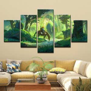 Quadro 5 Telas Decorativo Jogo The Legend Of Zelda Horse (110x55 ou 160x90)