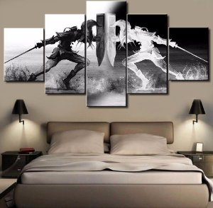 Quadro 5 Telas Decorativo  Jogo The Legend Of Zelda Black And White (110x55 ou 160x90)