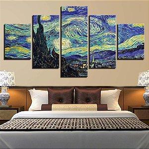 Quadro 5 Telas Decorativo Noite Estrelada Van Gogh (110x55 ou 160x90)