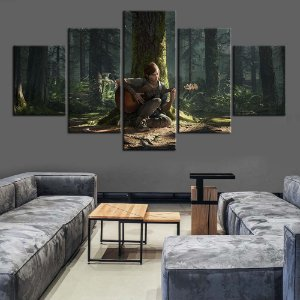 Quadro 5 Telas Decorativo Jogo The Last Of Us Part II Ellie (110x55 ou 160x90)
