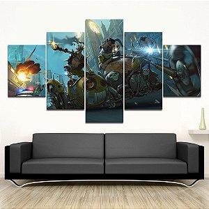 Quadro 5 Telas Decorativo Jogo Overwatch Junkrat e Roadhog  (110x55 ou 160x90)