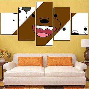 Quadro 5 Telas Decorativo Ursos Sem Curso (110x55 ou 160x90)