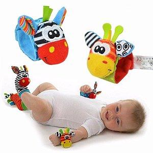 Kit Chocalho 4 Pçs Meia E Pulseira Brinquedo Bebê Bichinhos