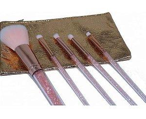 Kit de pincéis para maquiagem (rosa) - Miss Frandy
