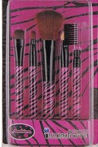 Kit com 5 Pincéis Fashion Zebra Rosa