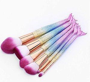 kit com 6 pincéis Sereia colorido