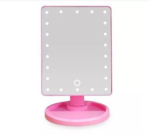 Espelho de para maquiagem com  led rosa