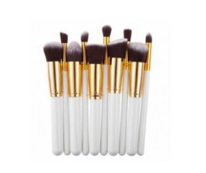 Kit com 10 Pincéis para Maquiagem Branco
