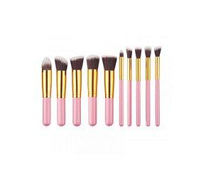 Kit com 10 Pincéis para Maquiagem Rosa