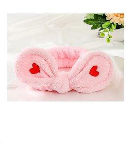 Faixa de Cabelo Laço Rosa com Coração