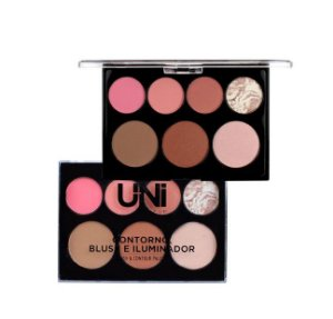Paleta de Contorno Blush e Iluminador-Uni Makeup