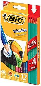 LÁPIS DE COR BIC EVOLUTION 12UN + 4 LÁPIS HB