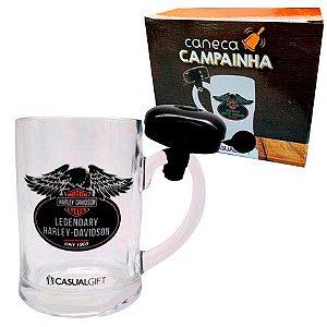 CANECA DE VIDRO COM CAMPAINHA 400ML Harley-Davidson- CASUALGIFT