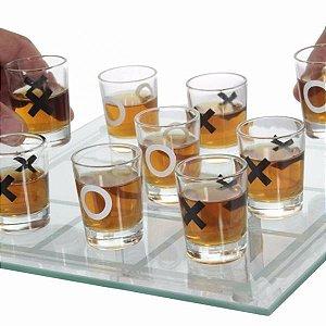 JOGO DA VELHA SHOT DRINK VIDRO 9 COPOS TABULEIRO VIDRO 25x25cm