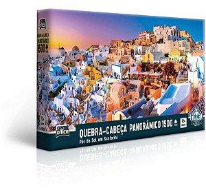 QUEBRA-CABEÇA PANORÂMICO PÔR DO SOL EM SANTORINI 1500 PEÇAS - cod. 2519
