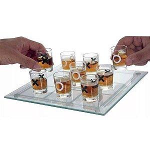 Jogo da Velha Shot Drink Vidro 9 Copos Tabuleiro Vidro 13x13cm