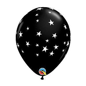 """BALAO 11"""" PRETO COM ESTRELAS ESTILIZADAS (UNIDADE)"""