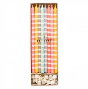 VELAS LONGAS KIT CANDY COLORS MERI MERI (24 UNIDADES)