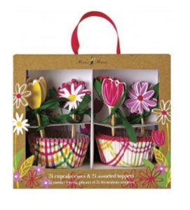 KIT PARA CUPCAKE FLORAL (24 FORMINHAS+24 TOPPERS)