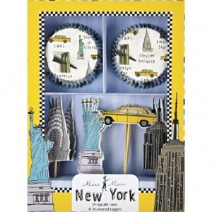 KIT PARA CUPCAKE NEW YORK (24 FORMINHAS+24 TOPPERS)