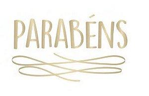 TRANSFER PARA BALÃO PERSONALIZADO PARABÉNS DOURADO P (22 X 18 CM)