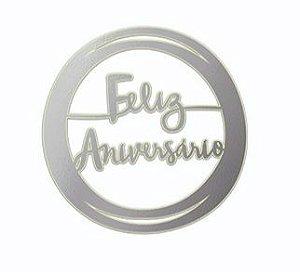 TOPO DE BOLO FELIZ ANIVERSÁRIO PRATEADO DIY (UNIDADE)