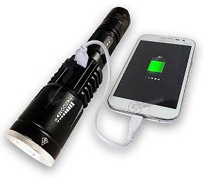 Lanterna Tática que Recarrega Celular 1.208.000 Lumens Super Potente Com Saída USB LED T6 L2